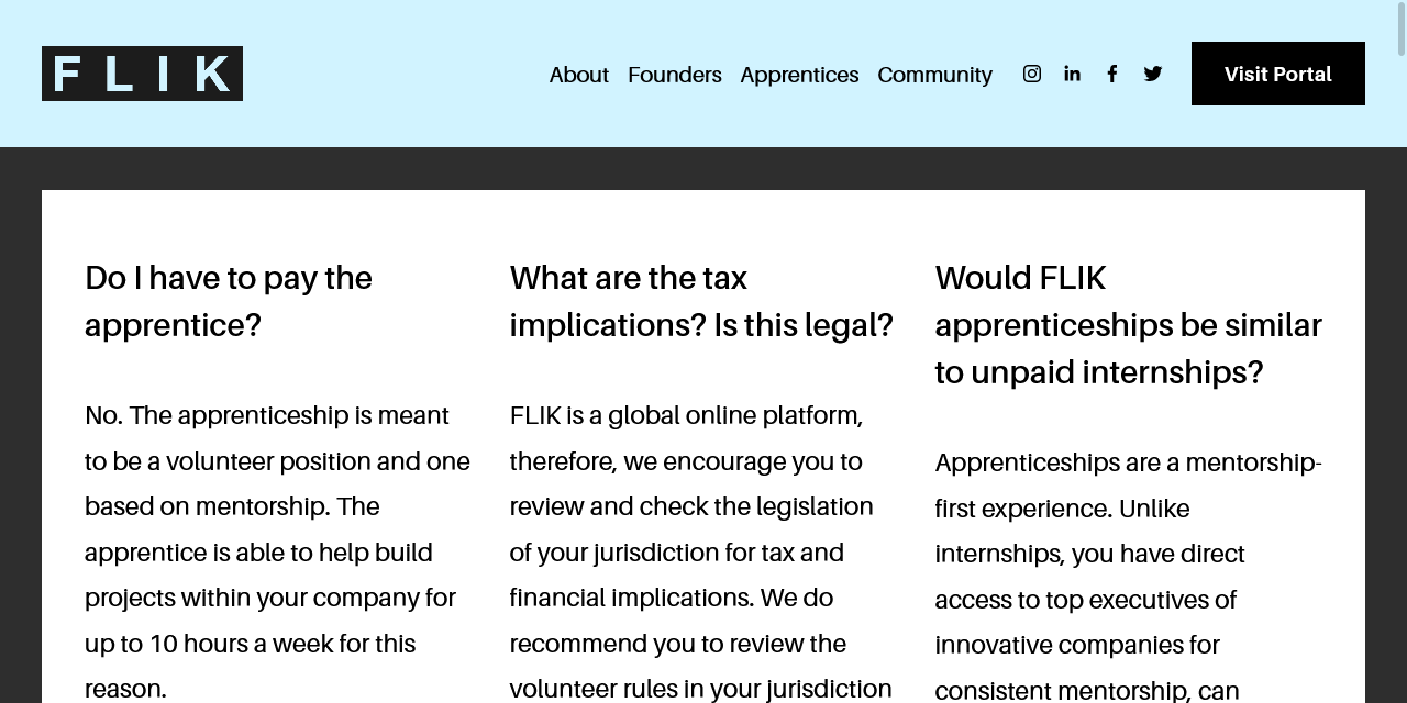 "FLIK FAQ screenshot, showing questions ""Do I have to pay the apprentice?"", ""What are the tax implications? Is this legal?"", and ""Would FLIK apprenticeships be similar to unpaid internships?"""